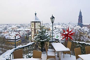 Wintry festive panoramic view of the historic town of Freiburg im Breisgau, Baden-Wuerttemberg, Germany, Europe