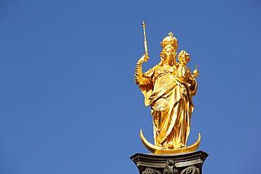 Mariensaeule column, Marienplatz square, Munich, Bavaria, Germany, Europe
