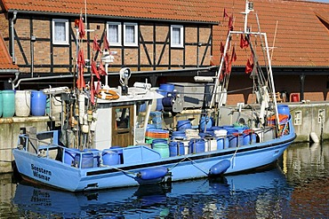 Fishing boat in the port of Wismar, Mecklenburg-Western Pomerania, Germany, Europe