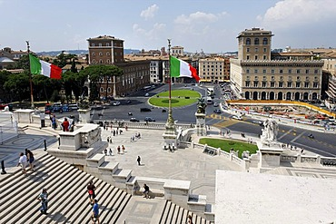 View from the monument of Vittorio Emanuele to Piazza Venezia, Il Vittoriano, Rome, Italy, Europe