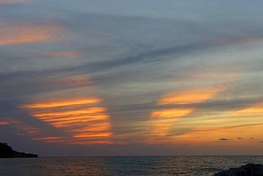 Sunset at Peschici, province of Foggia, Apulia, Puglia, Gargano, Adria, Italy, Europe