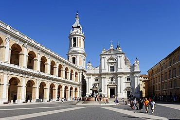 Pilgrimage town of Loreto, Basilica della Casa Santa, as seen from Piazza della Madonna, province of Ancona, Marche, Italy, Europe