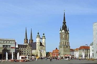 Marktplatz market square with Haendel memorial, Marktkirche church and Roter Turm Tower, Halle, Saxony-Anhalt, Germany, Europe