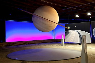 Saturn, planet with a system of rings, sculpture of the planet Saturn, exhibition Sternstunden, wonders of the solar system, Gasometer, Oberhausen, Ruhr Area, North Rhine-Westphalia, Germany, Europe