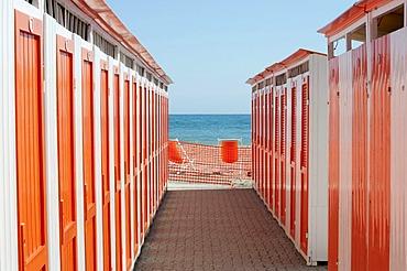 Beach shed, bathing huts, Albenga, Riviera, Liguria, Italy, Europe