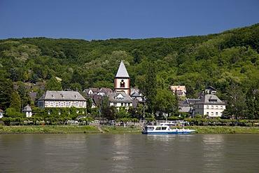 Rhine promenade, Erpel am Rhein, Rhineland, Rhineland-Palatinate, Germany, Europe