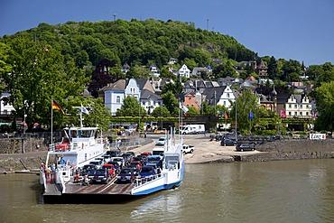 Ferry, Rhine promenade, Linz am Rhein, Rhineland, Rhineland-Palatinate, Germany, Europe