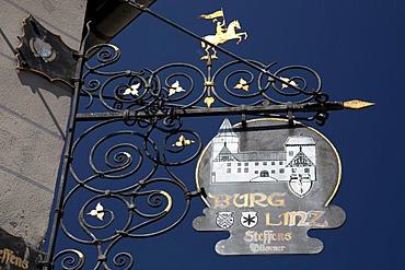 Restaurant sign, Burg Linz castle, Linz am Rhein, Rhineland, Rhineland-Palatinate, Germany, Europe
