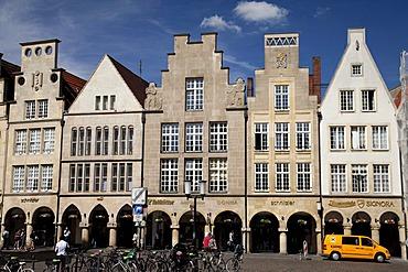 Gabled houses in Prinzipalmarkt street, Muenster, Muensterland, North Rhine-Westfalia, Germany, Europa