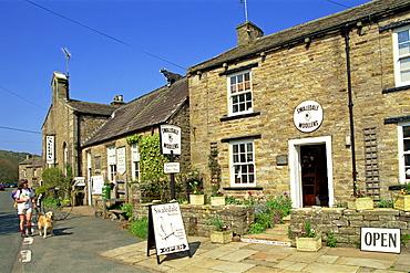 Shop selling woollens in Muker, Swaledale, Yorkshire Dales, Yorkshire, England, United Kingdom, Europe