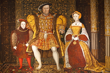 Portrait of King Henry VIII, Jane Seymour and Prince Edward, The Great Hall, Hampton Court Palace, Greater London, England, United Kingdom, Europe