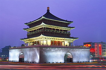 Night view of the Bell Tower, Qing Dynasty, city centre, Xian, Shaanxi Province, China, Asia