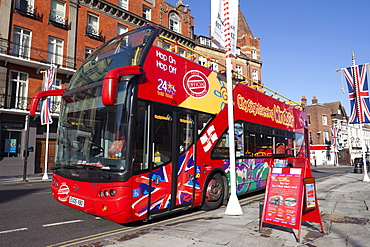 Open top double decker tour bus, Windsor, Berkshire, England, United Kingdom, Europe