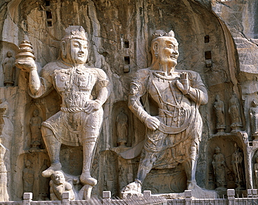 Bodhisattva and Guardian statues, Ancestor Worshipping Temple, Longmen Buddhist Caves dating from the Tang Dynasty, UNESCO World Heritage Site, Luoyang, Henan Province, China, Asia