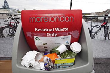 Overflowing rubbish bin, Southwark, London, England, United Kingdom, Europe