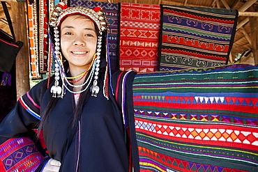 Akha hilltribe girl from the Golden Triangle wearing traditional costume, Chiang Mai, Thailand, Southeast Asia, Asia