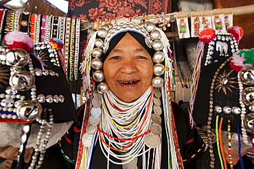 Akha hilltribe woman from the Golden Triangle wearing traditional costume, Chiang Mai, Thailand, Southeast Asia, Asia