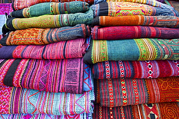 Hilltribe woven material on display at Sunday Street Market, Chiang Mai, Thailand, Southeast Asia, Asia