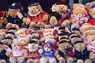 Souvenir teddy bear display, Covent Garden, London, England, United Kingdom, Europe