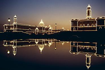 Secretariat Buildings at night, Delhi, India, Asia
