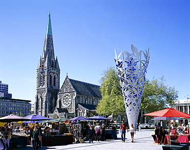 Cathedral Square and Christchurch Cathedral, Christchurch, Canterbury, South Island, New Zealand, Pacific
