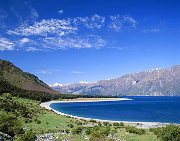 Lake Hawea and The Southern Alps Mountain Ranges, Wanaka, South Island, New Zealand, Pacific