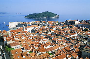 Rooftops of the Old City, UNESCO World Heritage Site, and Island of Lokrum, Dubrovnik, Dalmatian Coast, Croatia, Europe