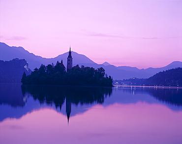 Lake Bled at dawn, Bled, Gorenjska Region, Slovenia, Europe