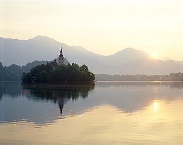 Dawn, Lake Bled, Bled, Gorenjska Region, Slovenia, Europe