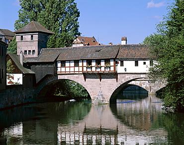 The Little Bridge and Pegnitz River, Nuremberg, Bavaria, Franconia, Germany, Europe