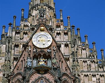 Detail of clock tower, Frauenkirche, Gothic church, Market Square (Hauptmarkt) Nuremberg, Bavaria, Franconia, Germany, Europe