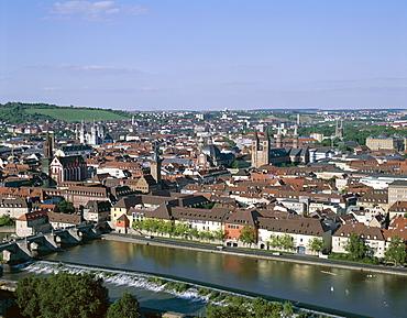 Town skyline and River Main, Wurzburg, Bavaria, Romantic Road (Romantische Strasse), Germany, Europe