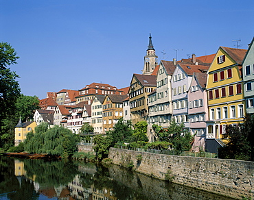 Town view and Neckar River, Tubingen, Baden-Wurttemberg, Germany, Europe