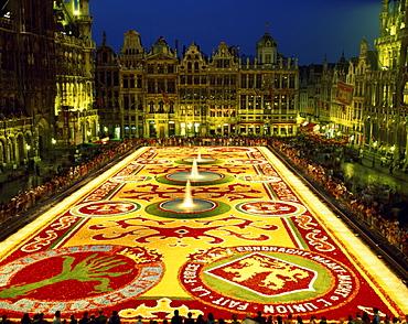 Floral Carpet (Tapis des Fleurs) at night, Grand Place, UNESCO World Heritage Site, Brussels, Belgium, Europe