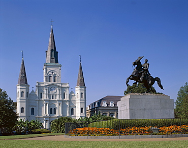 St. Louis Cathedral and statue of General Andrew Jackson, Jackson Square, New Orleans, Louisiana, United States of America, North America