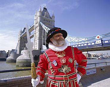 Beefeater at Tower Bridge, London, England, United Kingdom, Europe