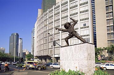 Makati Business street scene with Del Pilar statue, Manila, Philippines, Southeast Asia, Asia