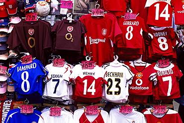 Souvenir Soccer Team shirts, Oxford Street, London, England, United Kingdom, Europe