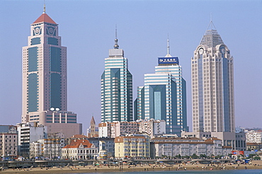 Waterfront and city skyline, Qingdao, Shandong Province, China, Asia