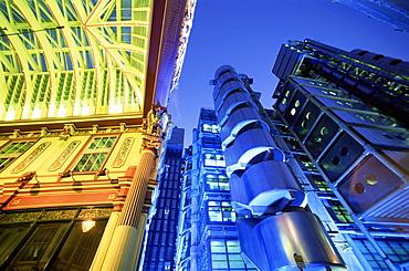 Leadenhall Street Market and Lloyds Building, City of London, London, England, United Kingdom, Europe