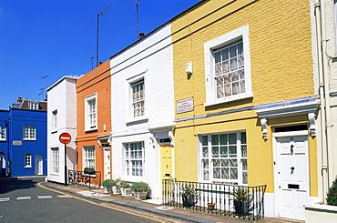 Colourful houses, Burnsall Street, Chelsea, London, England, United Kingdom, Europe