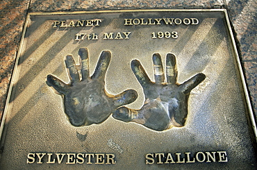 Handprints of Sylvester Stallone, Leicester Square, London, England, United Kingdom, Europe