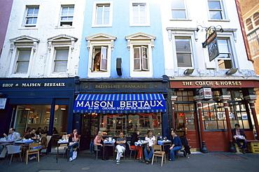 Street scene, Greek Street, Soho, London, England, United Kingdom, Europe