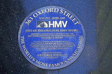 HMV Store blue plaque, 363 Oxford Street, London, England, United Kingdom, Europe