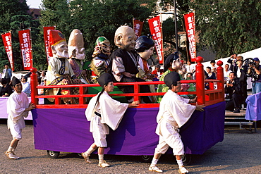 Parade scene at Jidai Matsuri Festival held annually in November at Sensoji Temple, Asakusa, Tokyo, Japan, Asia