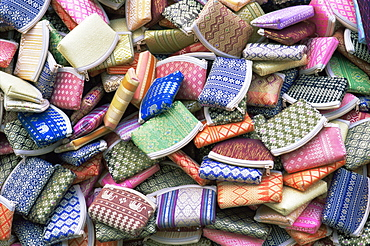 Souvenir silk purses, Bangkok, Thailand, Southeast Asia, Asia