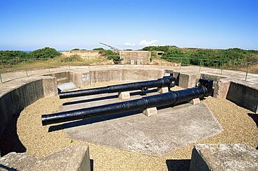 German World War II guns at Battery Moltke at Grosnez, Jersey, Channel Islands, United Kingdom, Europe