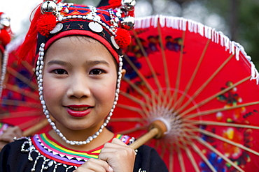 Meo hilltribe girl wearing traditional costume, Golden Triangle, Thailand, Southeast Asia, Asia