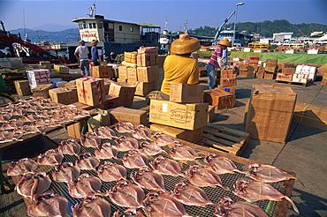 Drying fish and waterfront port activity, Cheung Chau Island, Hong Kong, China, Asia