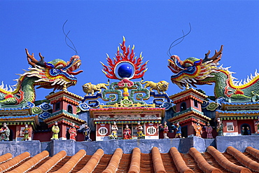 Rooftop detail of Pak Tai Temple, Cheung Chau Island, Hong Kong, China, Asia